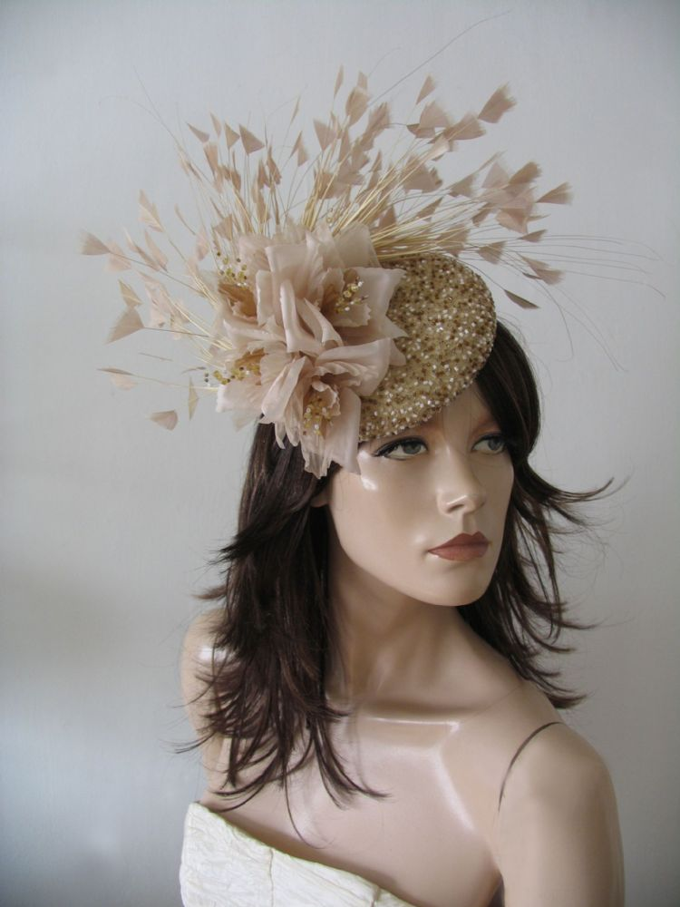 "Gold Almond Nude Beaded Silk Flower Fascinator Headpiece ""Fern"" Feather Hat Ascot Headpiece"